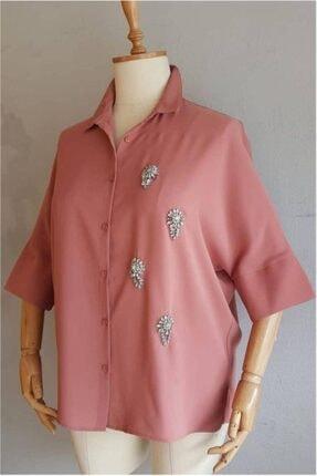 Picture of Büyük Beden Kadın Helezon Taş Detaylı Salaş Gömlek
