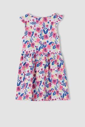 Defacto Kız Çocuk Çiçek Desenli Fırfır Detaylı Elbise 2