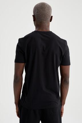 Defacto Slim Fit V Yaka Basic Siyah Tişört 3