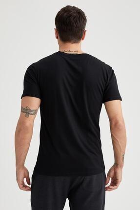 Defacto Erkek Siyah Bisiklet Yaka Slim Fit Premium Kalite Basic T-shirt 3