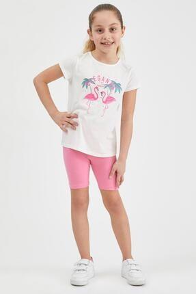 Defacto Kız Çocuk Flamingo Baskılı Kısa Kollu Tişört 1