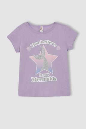 Defacto Kız Çocuk Deniz Kızı Baskılı Kısa Kollu Tişört 0