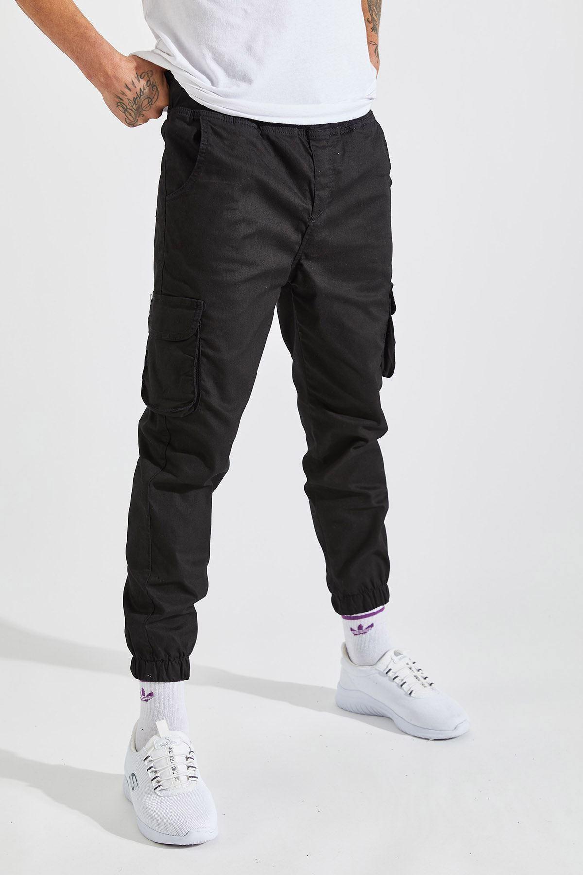 Erkek Siyah Slim Fit Kargo Cep Likralı Pantolon