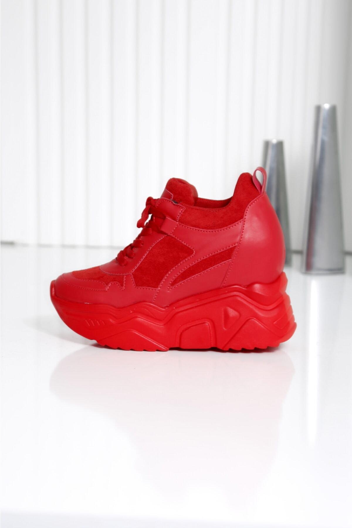 Kadın Kırmızı Platform Sneaker
