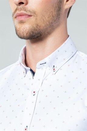 Tudors Dar Kesim Likralı Erkek Gömlek 2