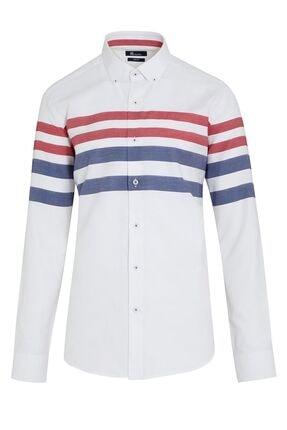 Picture of Beyaz Çizgili Slim Fit Gömlek