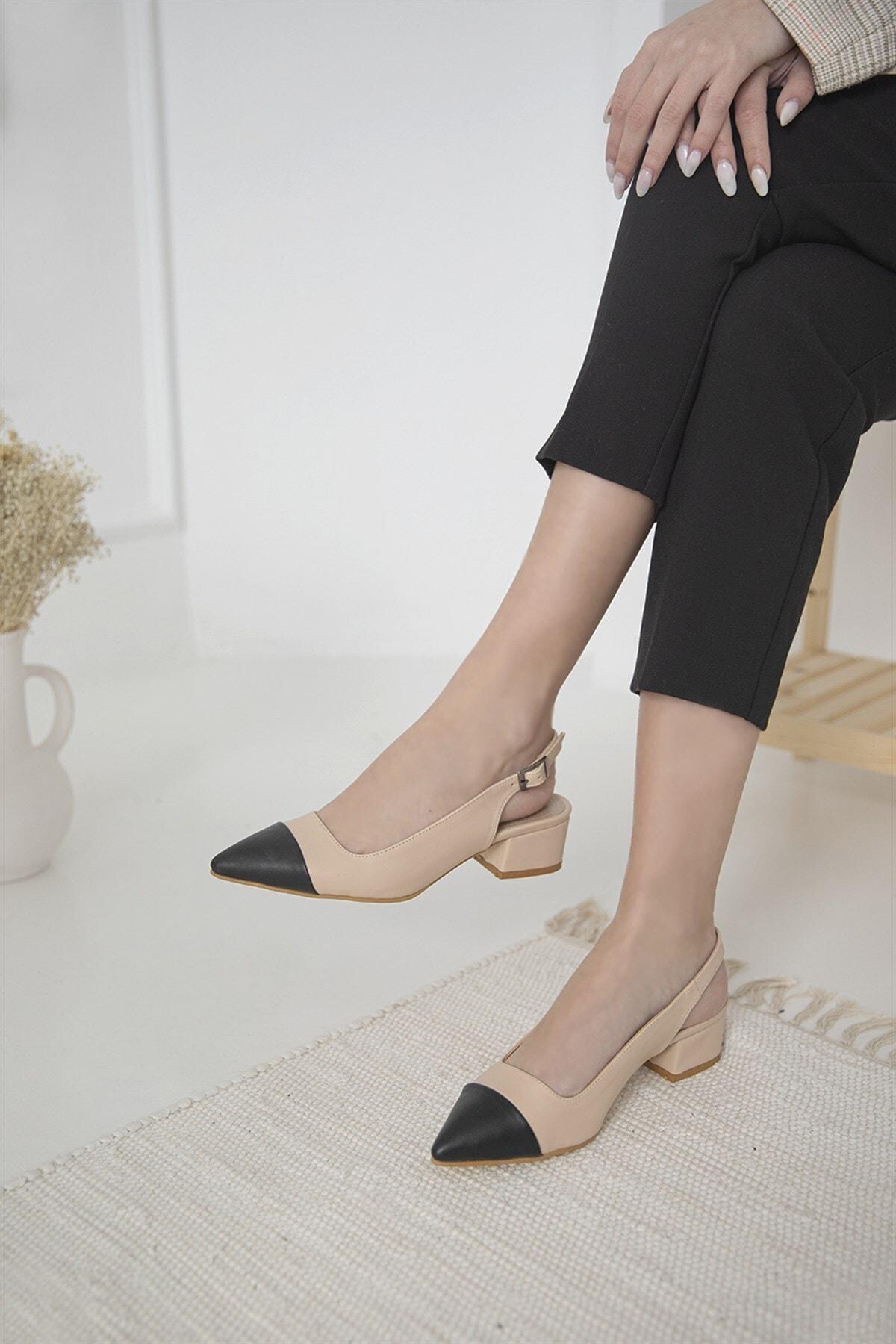 Leila Bayan Topuklu Ayakkabı Ten-siyah