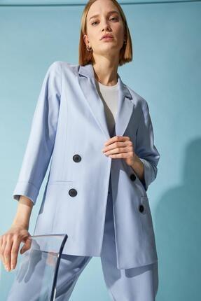 Defacto Kadın Mavi Oversize Fit Blazer Ceket 2