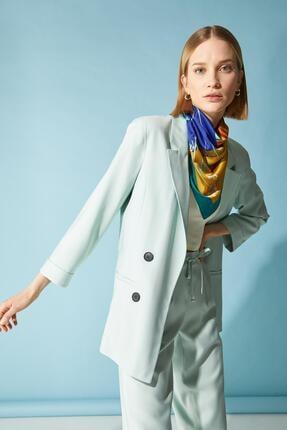 Defacto Kadın Turkuaz Oversize Fit Blazer Ceket 4