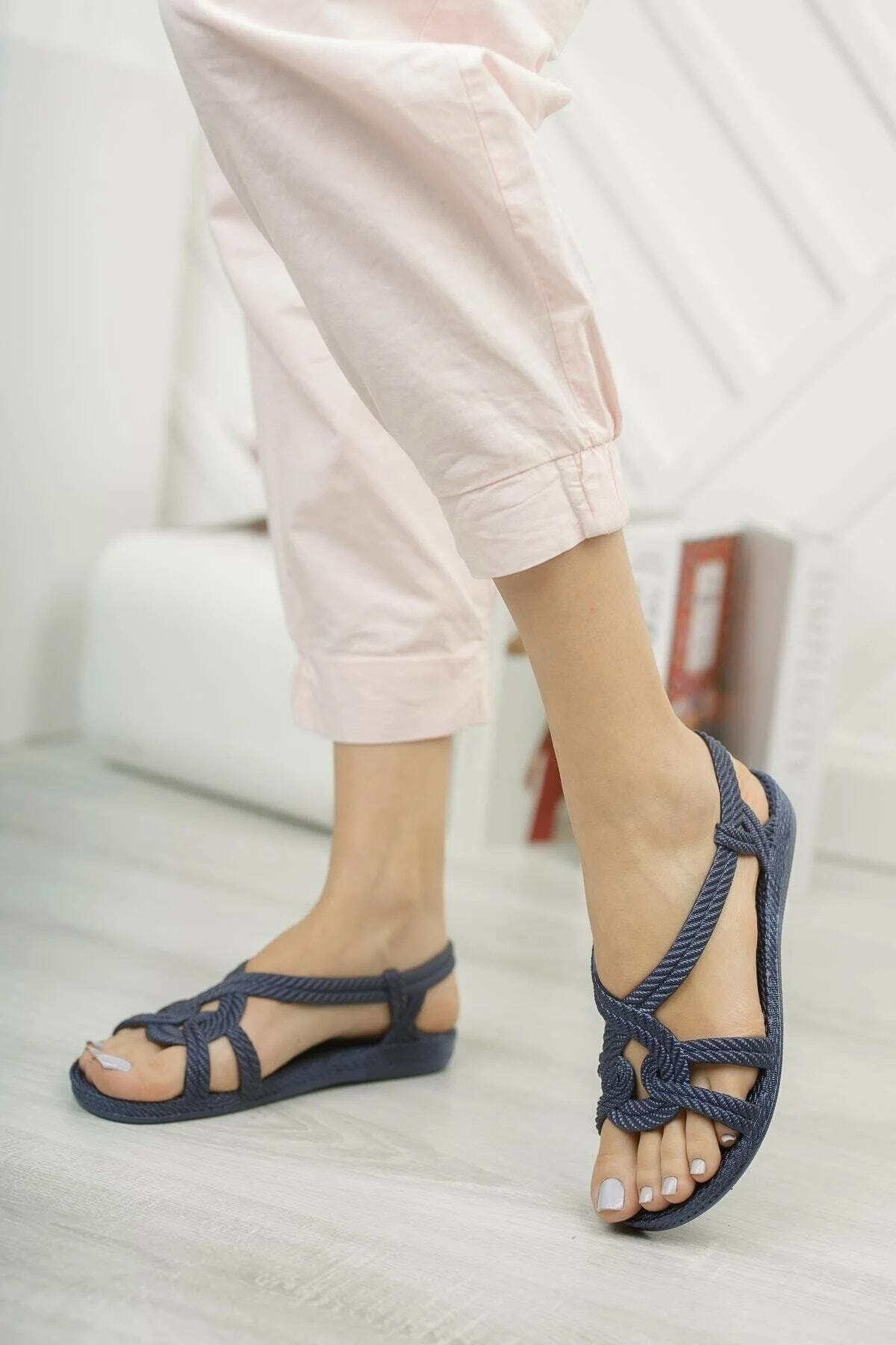 Halat Desenli Kaymaz Taban Lacivert Yazlık / Plaj / Deniz Kadın Sandalet Terlik