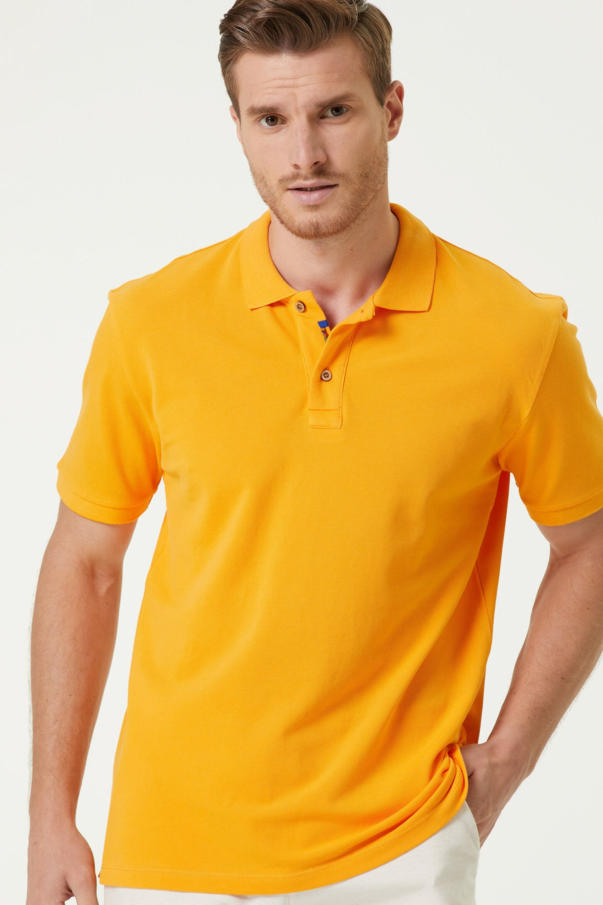 Erkek Slim Fit Sarı Polo Yaka T-shirt 1079747