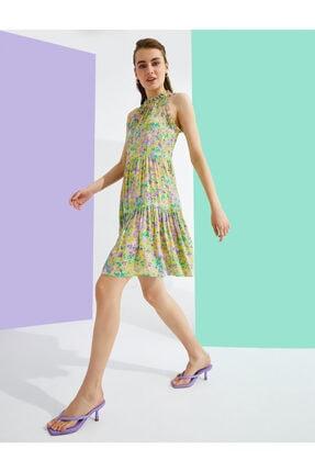 Çiçekli Elbise Firfirli 1YAK88389PW