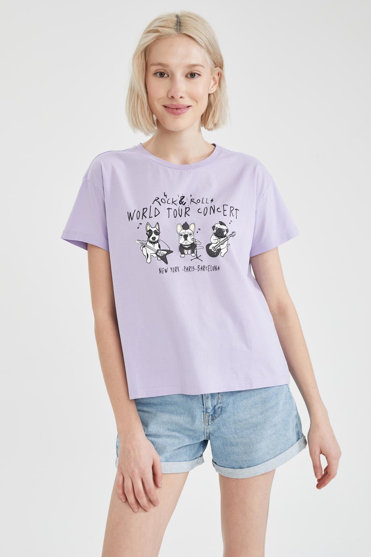 Defacto Köpek Baskılı Oversize Fit Kısa Kollu Tişört 4
