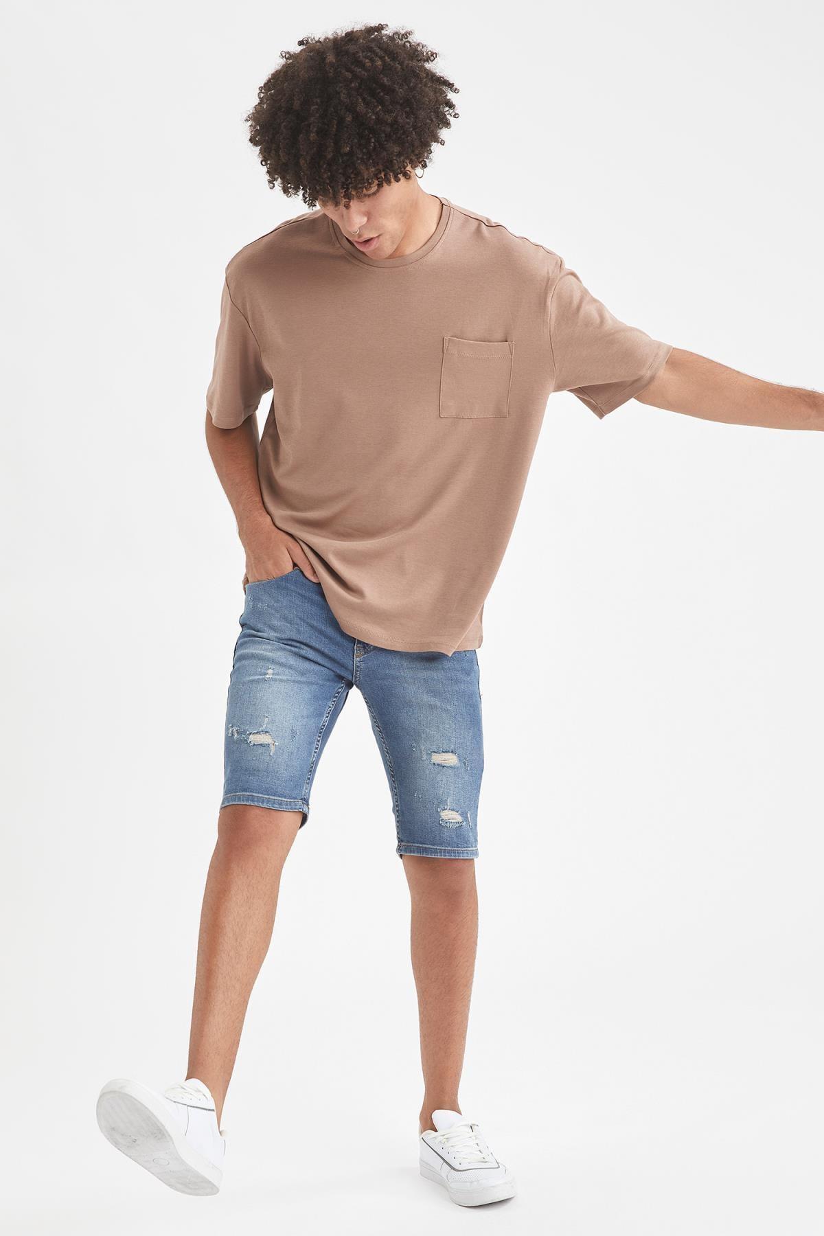 Defacto Erkek Kahverengi Oversize Fit Bisiklet Yaka Basic Tişört 1