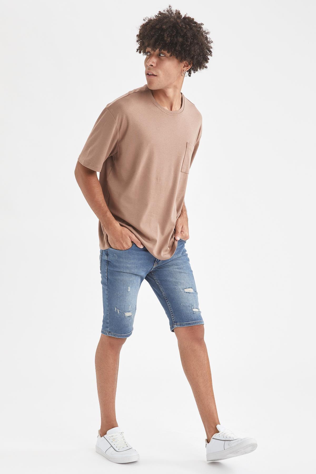 Defacto Erkek Kahverengi Oversize Fit Bisiklet Yaka Basic Tişört 3
