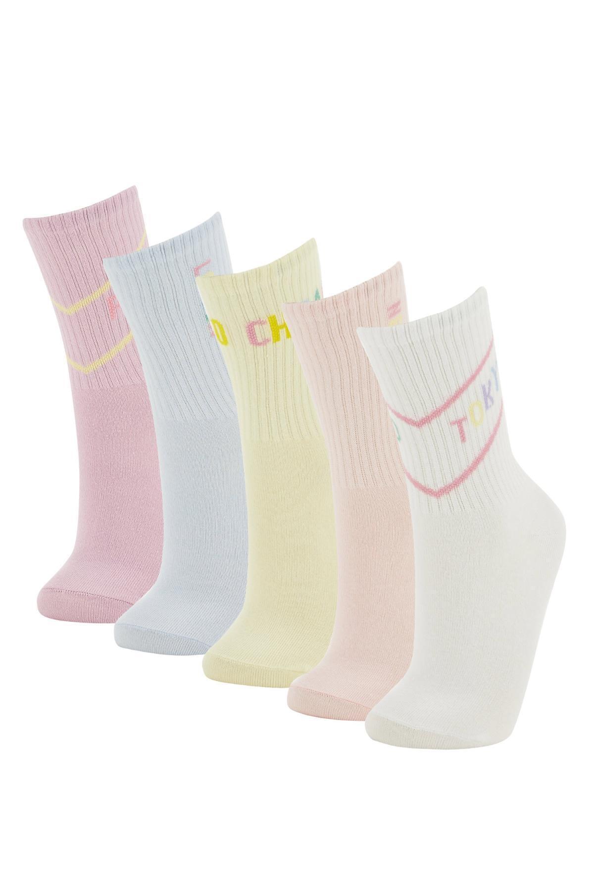 Defacto Kutulu Desenli 5'li Soket Çorap