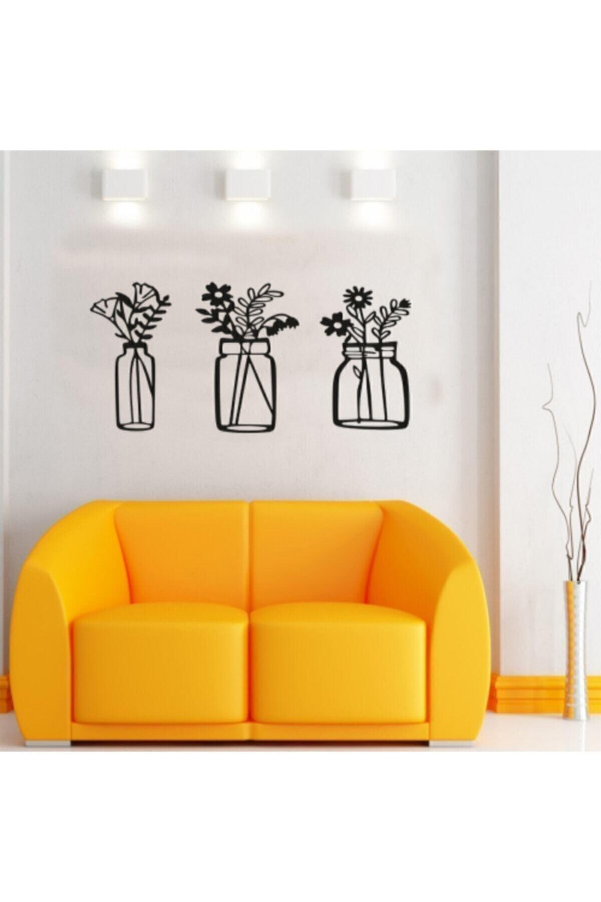 Bahar Çiçekleri Üçlü Set Duvar Dekoru Kavanoz Duvar Süsü, Ahşap Lazer Kesim Dekoratif Tablo Siyah