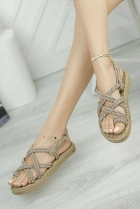 Matilla Kadın Vizon Hasır Sandalet 1