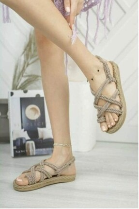 Matilla Kadın Vizon Hasır Sandalet 2