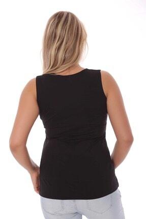 SERTUĞ Geniş Askılı Basıc Siyah Bluz 3