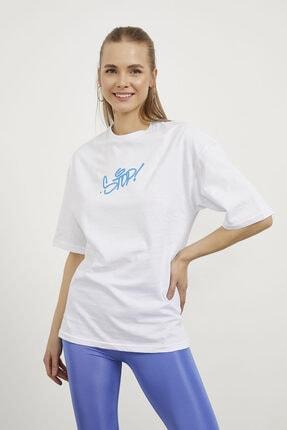 Arma Life Kadın Beyaz Stop Çiçek Baskı Oversize T-shirt 0