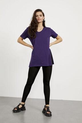 Arma Life Kadın Mor V Yaka Yırtmaçlı Basic T-shirt 3