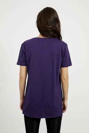 Arma Life Kadın Mor V Yaka Yırtmaçlı Basic T-shirt 4