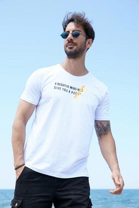 Sateen Men Erkek Beyaz Kabartma Baskılı T-Shirt 0