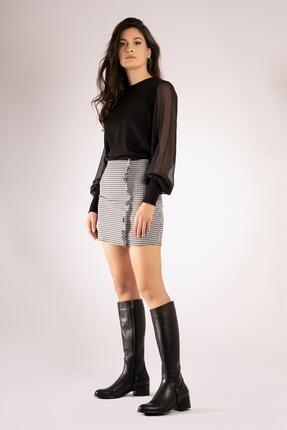 CZ London Hakiki Deri Kadın Uzun Çizme Fermuarlı Tabandan Şeritli 0