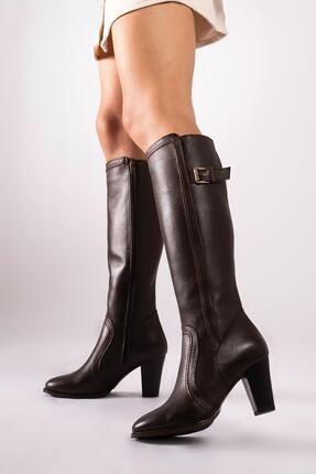CZ London Hakiki Deri Kadın Çizme Saraçlı Topuklu Kışlık Ayakkabı 1