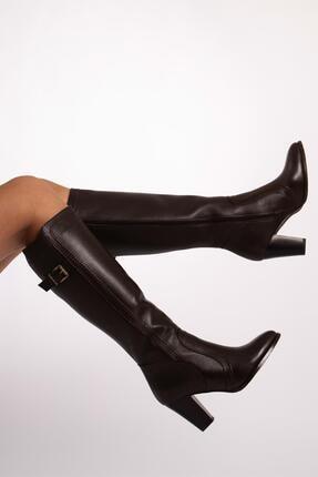 CZ London Hakiki Deri Kadın Çizme Saraçlı Topuklu Kışlık Ayakkabı 3