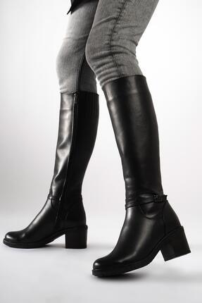CZ London Hakiki Deri Kadın Tokalı Şeritli Çizme Fermuarlı Kalın Taban 1
