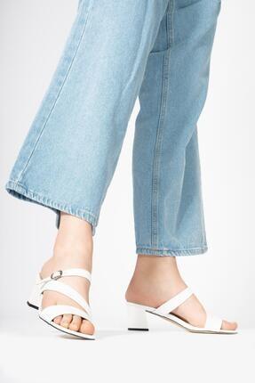 CZ London Kadın Deri Terlik Kare Topuk Tokalı Küt Burun Sandalet 4