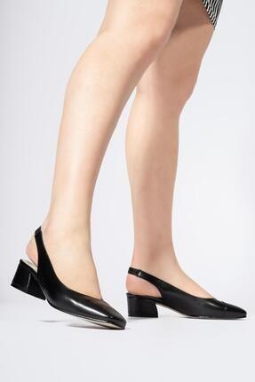 CZ London Hakiki Deri Kadın Lastikli Sandalet Açık Kısa Topuklu Ayakkabı 3