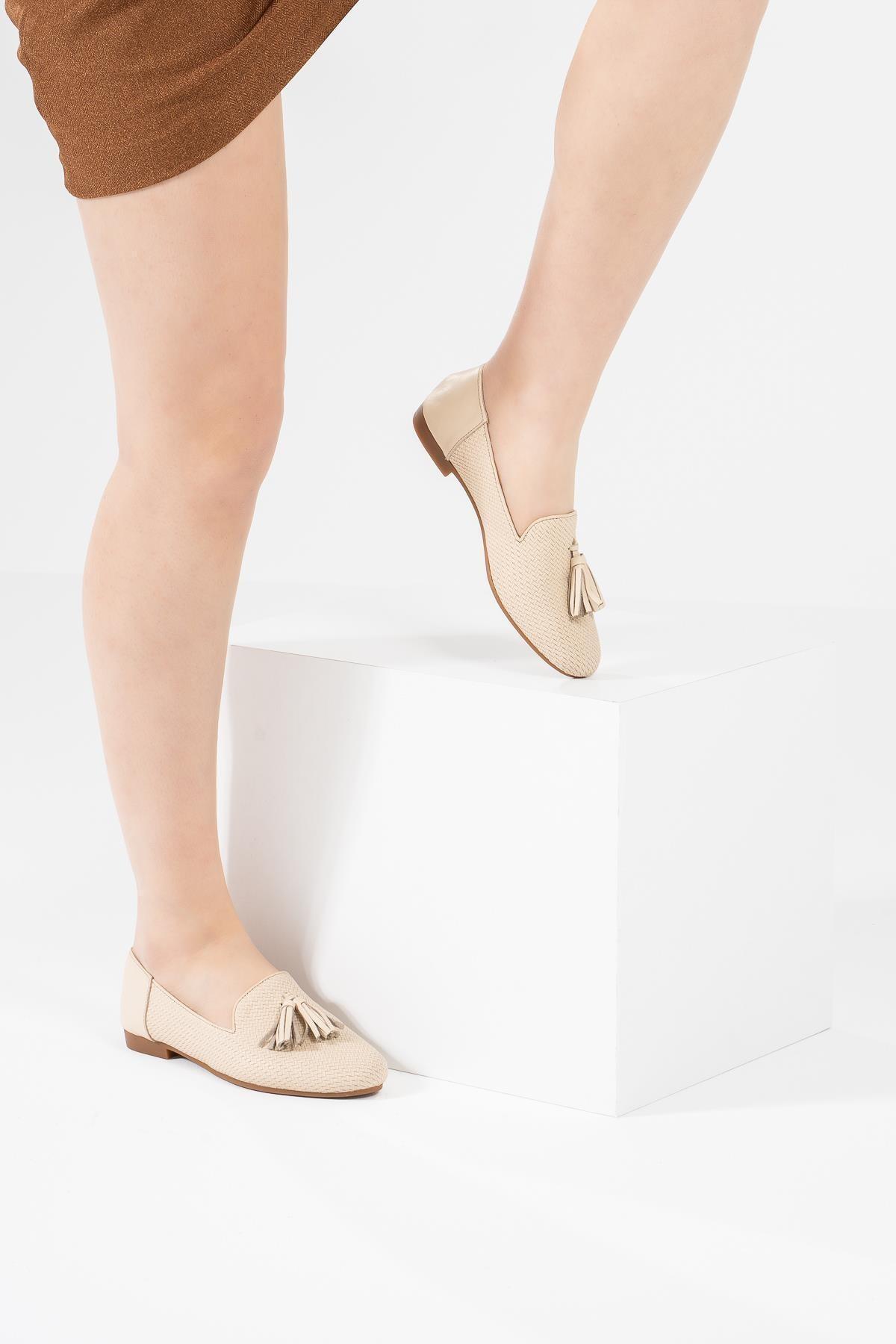 Kadın Babet Desenli Rahat Hafif Tabanlı Babet Ayakkabı