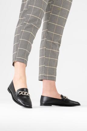 CZ London Kadın Siyah Hakiki Deri Babet Zincirli Taş Detaylı Tarz Ayakkabı 3