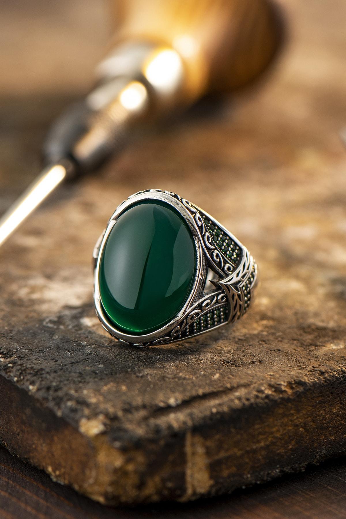 Erkek Yeşil Akik Taşlı Gümüş Yüzük