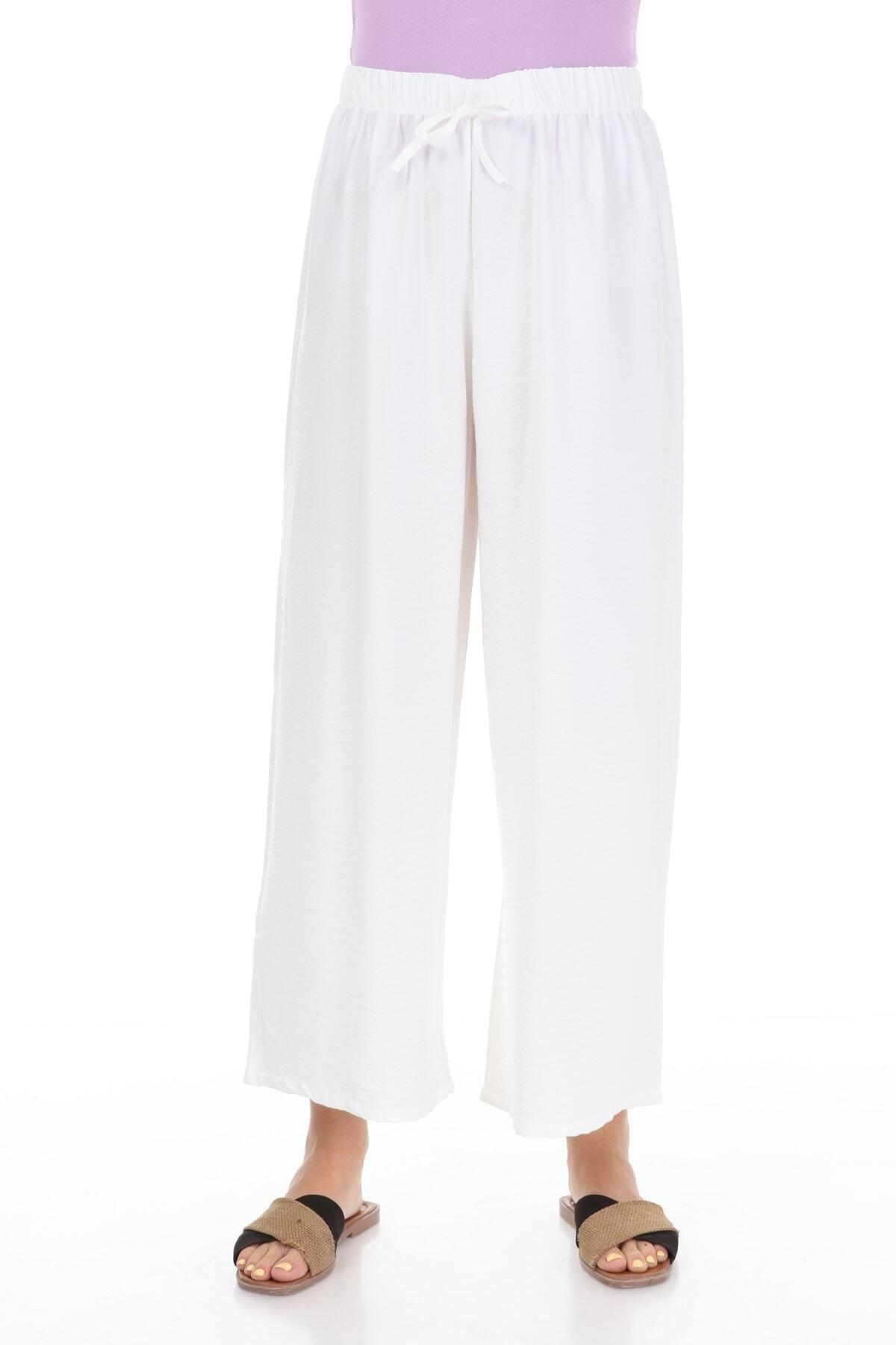 Kadın Beyaz Beli Lastikli Aerobin Pantalon