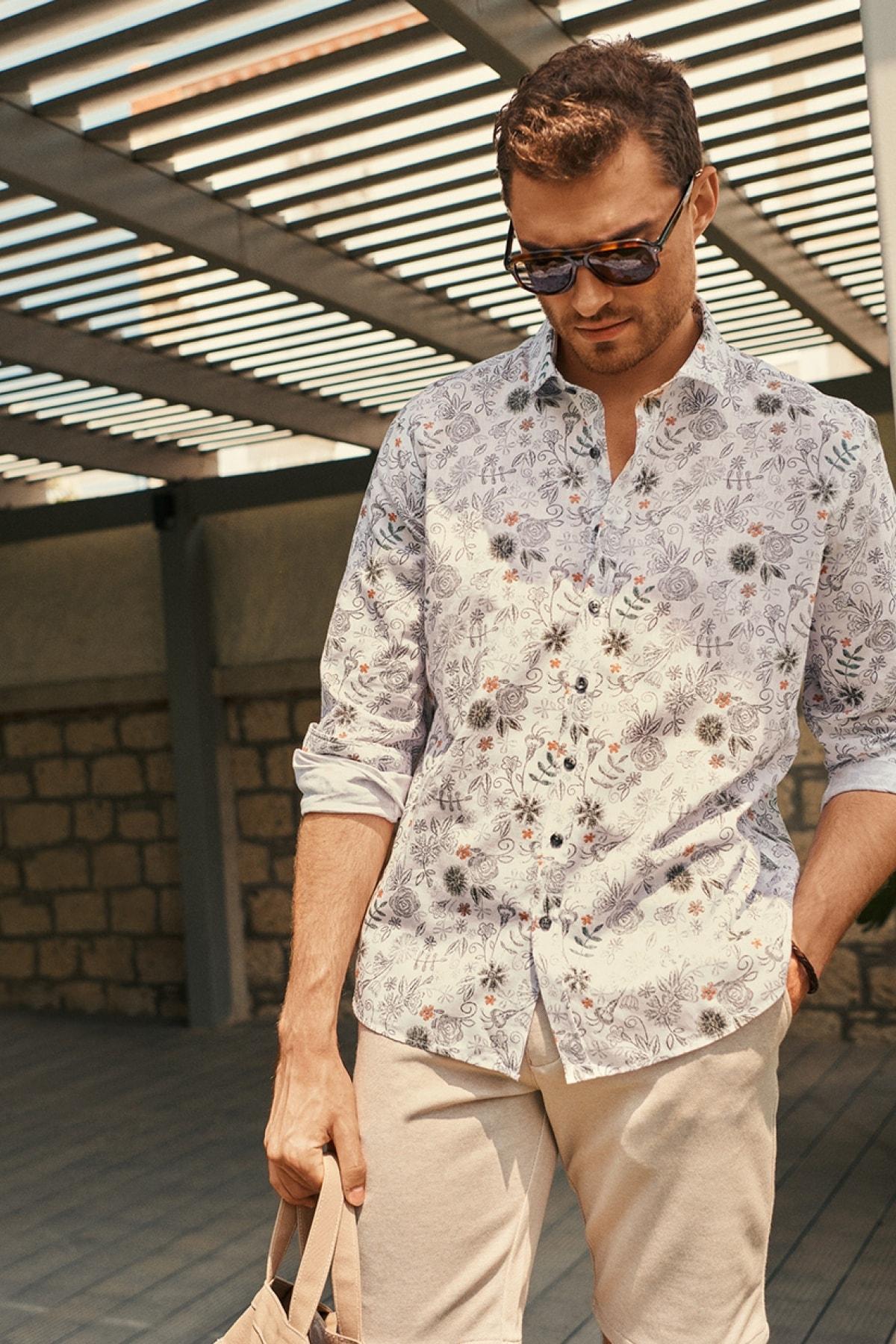 Erkek BEYAZ-KIREMIT Tailored Slim Fit İtalyan Yaka %100 Koton Baskılı Gömlek