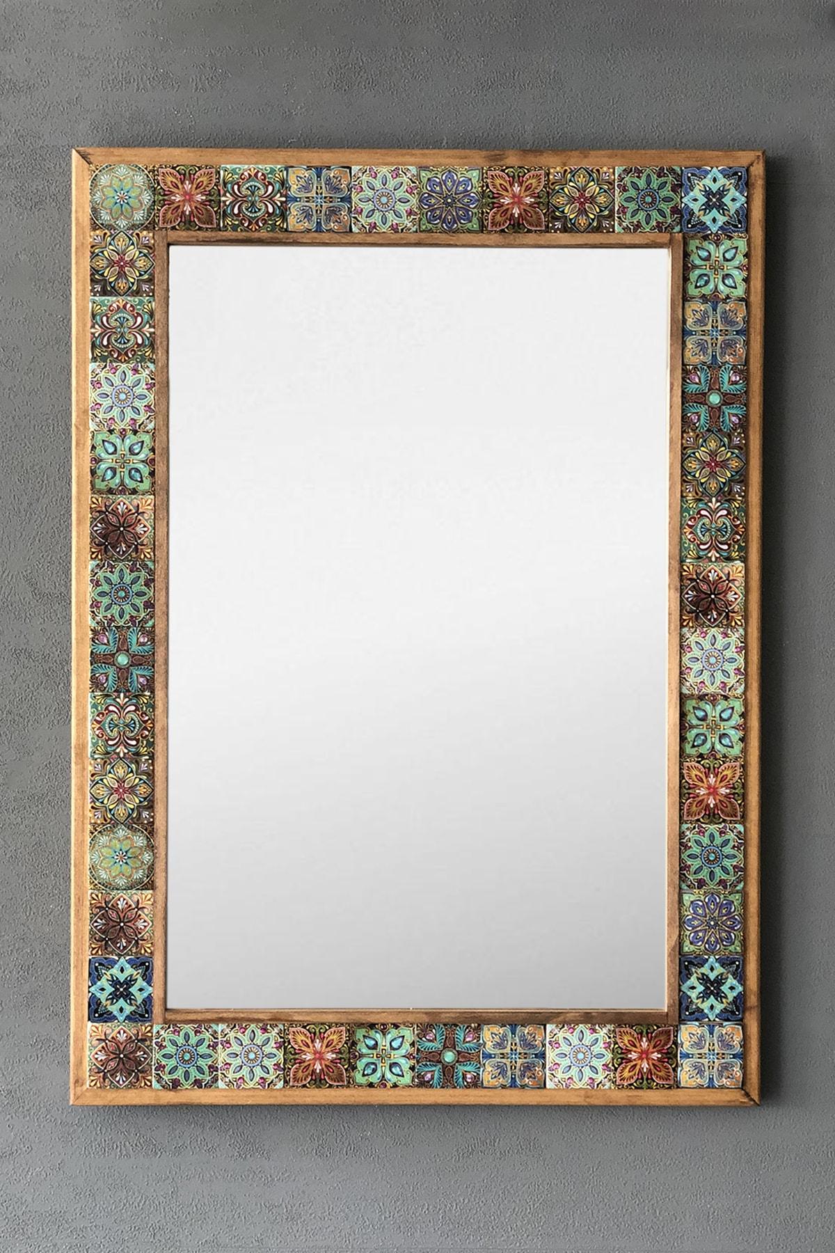 Masif Çerçeveli Mozaik Taş Ayna 53 Cm X 73 Cm Tile Mozaik Seramik Desenli