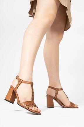 CZ London Kadın Kahverengi Topuklu Sandalet 4
