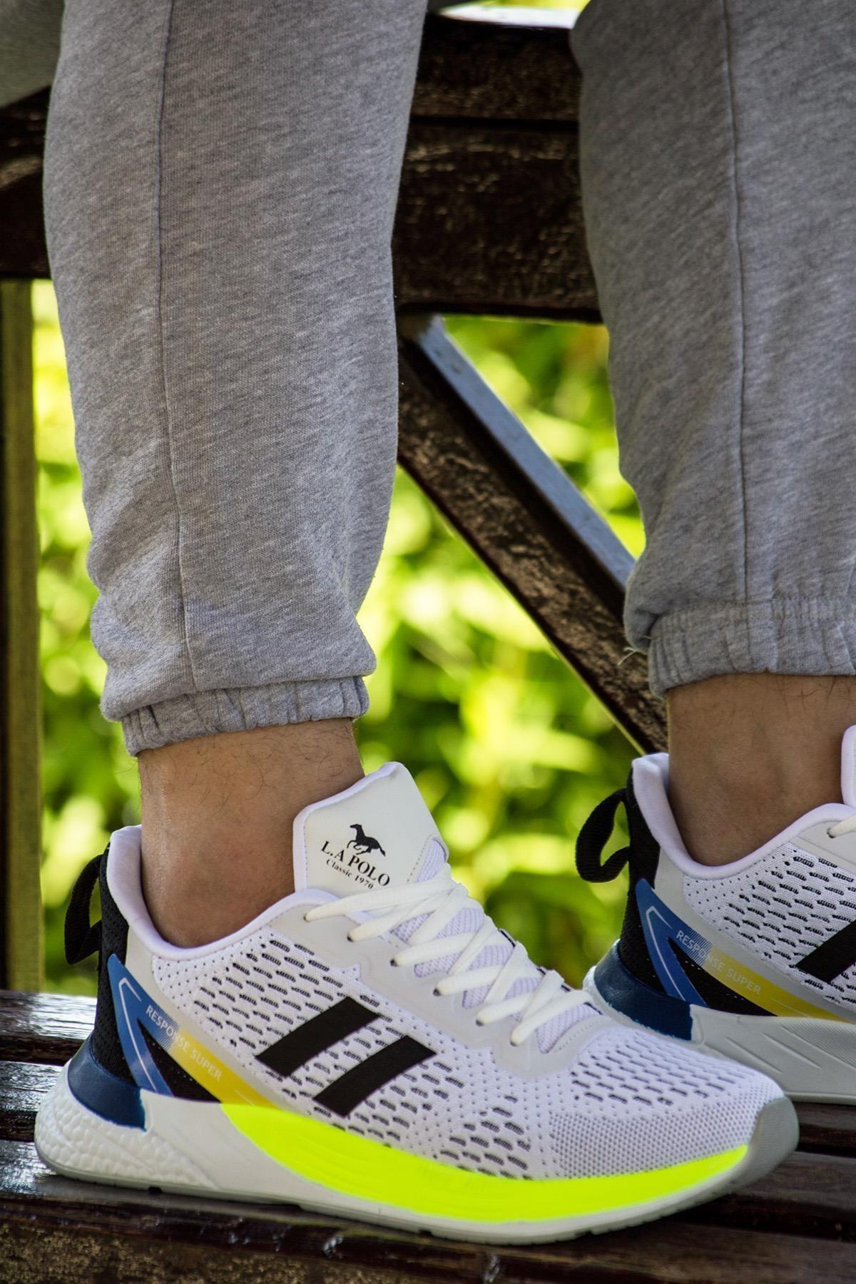 1103 Beyaz Sarı Unisex Spor Ayakkabı