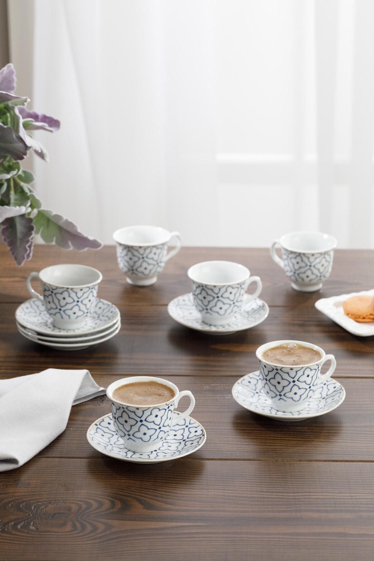 Belize Porselen 6'lı Kahve Fincan Takımı 90 ml Mavi - Kırık Beyaz