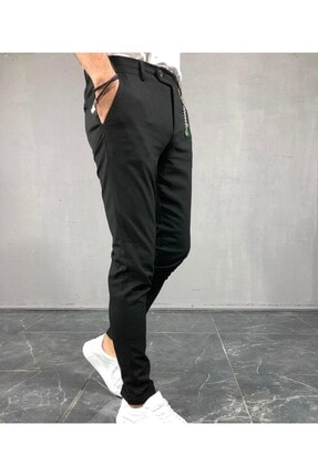 moda biz Italyan Kesim Slim Fit Siyah Kumaş Pantolon 1