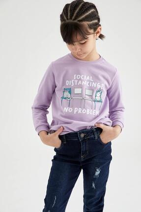 Defacto Kız Çocuk Yazı Baskılı Sweatshirt 0
