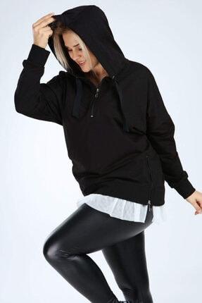Picture of Kadın Siyah Büyük Beden Spor Giyim Altı Tül Tasarım Sweat Üst 2526