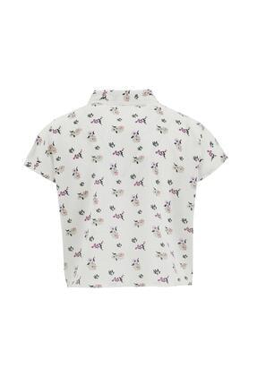 Defacto Kız Çocuk Çiçek Desenli Bağlama Detaylı Kısa Kol Gömlek 4