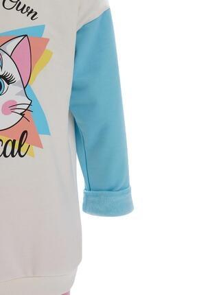 Defacto Kız Çocuk Ekru Unicorn Baskılı Sweatshirt Ve Jogger Eşofman Alt Takımı 1
