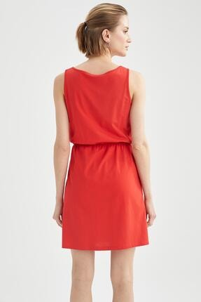 Defacto Askılı Basic Beli Büzgülü Relax Fit Miniyazlık Elbise 3