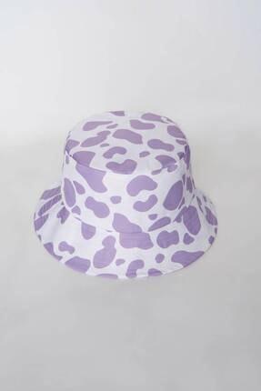 Addax Kadın Lila Beyaz Şapka Şpk1045 - E1 Adx-0000023856 1